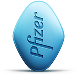 Image of both sides of the blue VIAGRA pill
